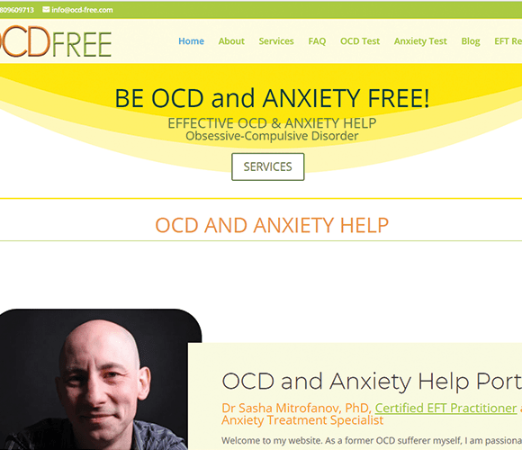 OCD and Anxiety Free website under Emma's Web maintenance